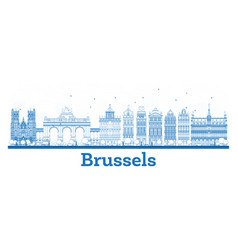 Outline brussels belgium city skyline with blue vector