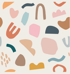 Pieces torn paper and brush strokes seamless vector