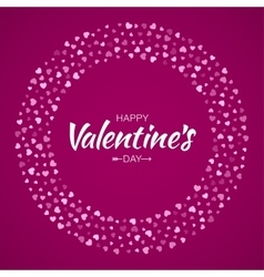 Pink Hearts Circle Frame Valentines Day Card vector