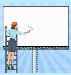pop art business woman with blank billboard vector image