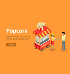Popcorn conceptual isometric web banner vector