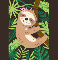 Poster with sloth hanging on a branch vector