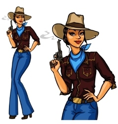 Pretty Cowgirl holding smoking gun vector