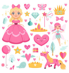 princess with fairytale unicorn wizard and their vector image