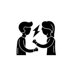quarrel black icon sign on isolated vector image