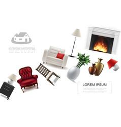 realistic classic interior elements template vector image