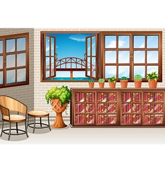 Room with ocean view from window vector image