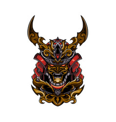 samurai skull head and vector image