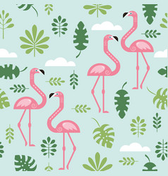 seamless pattern with a pink flamingo vector image