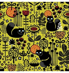 Seamless pattern with black cats vector image