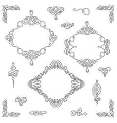Set collection of calligraphic elements and vector