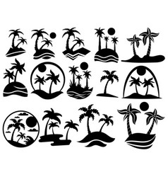 set islands with palm trees the collection vector image