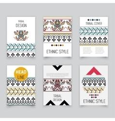 Set of geometric tribal aztec pixel flyers vector