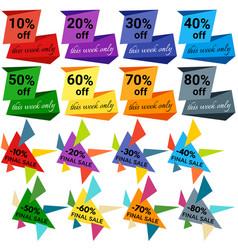 Set of sale discount labels vector