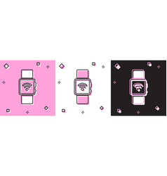 Set smartwatch with wireless symbol icon isolated vector