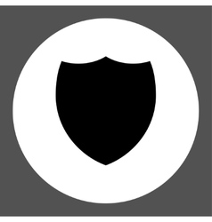 Shield flat black and white colors round button vector