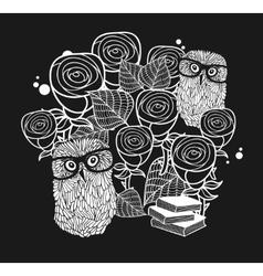 Smart owls in roses vector