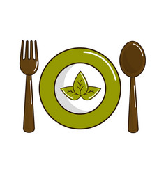 spoon fork and plate with leaves vector image