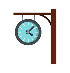 Station clock icon flat style vector
