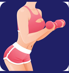 strong sporty woman fitness girl doing dumbbell vector image