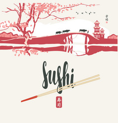 Sushi banner with chopsticks and east landscape vector