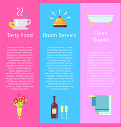 tasty food room service and clean towel posters vector image