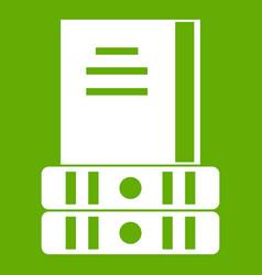 three books icon green vector image