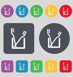 Toothbrush icon sign A set of 12 colored buttons vector image