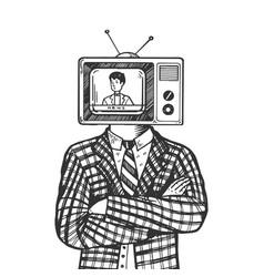 tv head man engraving vector image