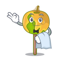 Waiter candy apple mascot cartoon vector