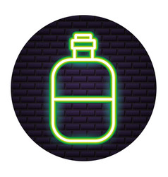 water bottle travel neon brick wall vector image