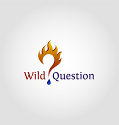 wild question is stylish logo with flame concept vector image