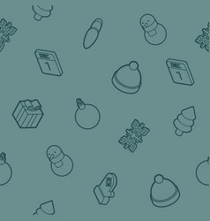 winter outline isometric pattern vector image