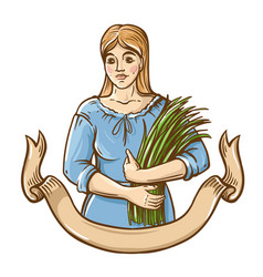 woman in dress hold fresh grass green-fodder vector image