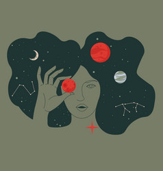 Woman portrait with planets in outer space cosmos vector