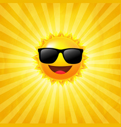 yellow sunburst background with sun with vector image