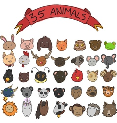 animal heads hand drawn vector image vector image