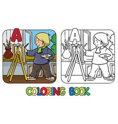 artist coloring book profession abc alphabet a vector image