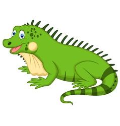 Cute iguana cartoon vector image
