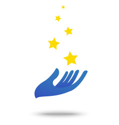 hand with star symbol element and icon vector image vector image