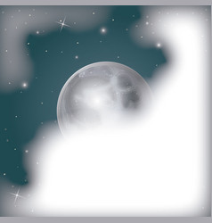 nightly scene background with moon view covered by vector image