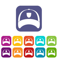 Winter hat icons set flat vector