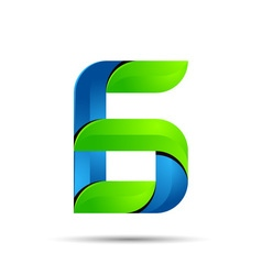 3d Number six 6 logo with speed green leaves vector image