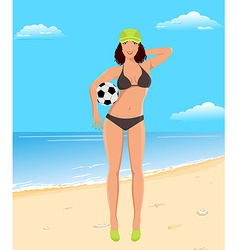 active girl with ball on beach vector image