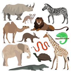 african animals set elephant giraffe buffalo vector image