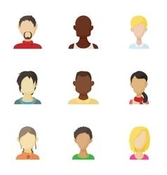 Avatar people icons set cartoon style vector image