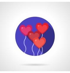 Heart balloons round purple flat icon vector image