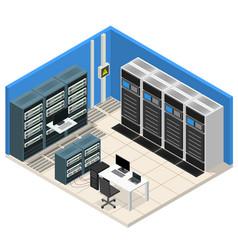 interior server room isometric view vector image