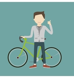 Man with a Bicycle vector image vector image