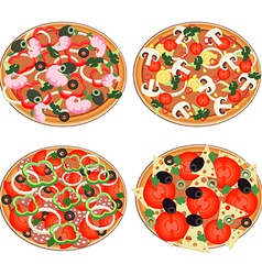 Pizza icon set in a flat style vector image